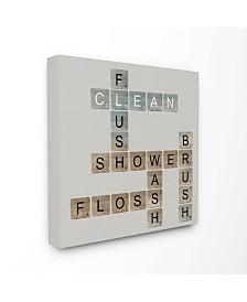"Stupell Industries Scrabble Bathroom Illustration Canvas Wall Art, 17"" x 17"""