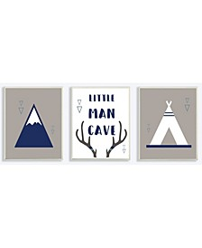 """Little Man Cave Mountains and Camping 3 Piece Wall Plaque Art Set, 10"""" x 15"""""""