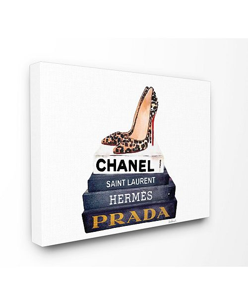 "Stupell Industries Glam Fashion Book Set Leopard Pumps Heels Canvas Wall Art, 24"" x 30"""