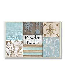 "Stupell Industries Home Decor Collection Fleur de Lis Powder Room Blue, Brown and Beige Bathroom Wall Plaque Art, 12.5"" x 18.5"""