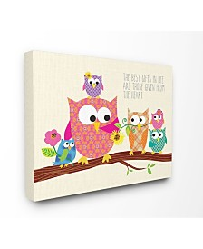 """Stupell Industries Home Decor The Best Gifts In Life Are Those Given From The Heart Owls Canvas Wall Art, 16"""" x 20"""""""