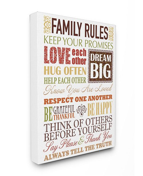 """Stupell Industries Home Decor Family Rules Autumn Colors Cavnas Wall Art, 16"""" x 20"""""""