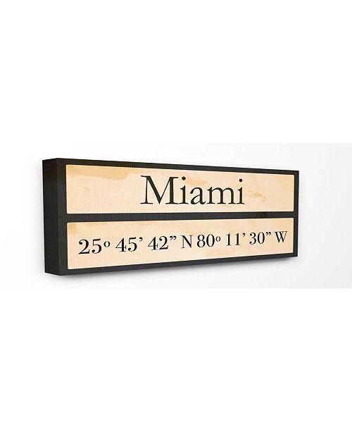 "Stupell Industries Wood City Coordinates Miami Canvas Wall Art, 10"" x 24"""
