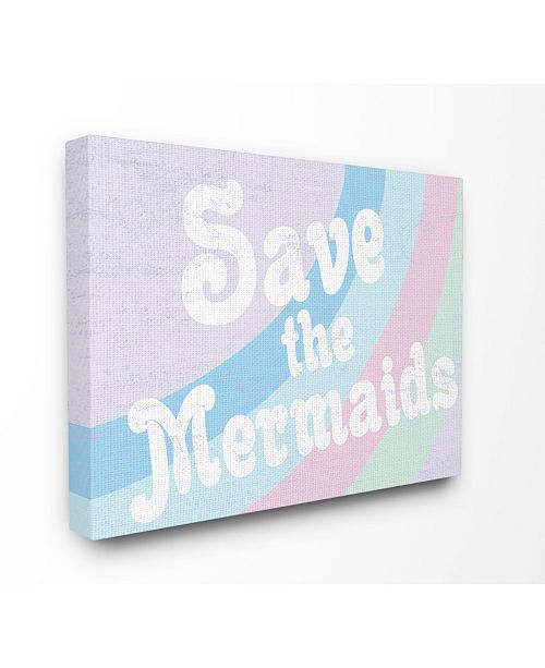 "Stupell Industries Save The Mermaids Canvas Wall Art, 16"" x 20"""