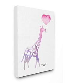 """Stupell Industries Watercolor Balloon Giraffe Canvas Wall Art, 16"""" x 20"""""""