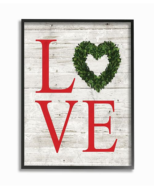 "Stupell Industries Love Wreath Planked Framed Giclee Art, 11"" x 14"""