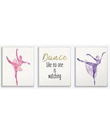 "Dance Like No One is Watching Ballerinas 3 Piece Wall Plaque Art Set, 10"" x 15"""