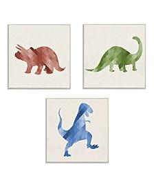 """Red Green Blue Dinosaurs 3 Piece Wall Plaque Art Set, 12"""" x 12"""""""