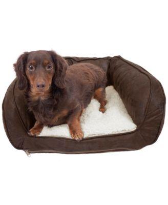 Vegan Leather Curved Orthopedic Memory Foam Sofa Pet Bed - Small