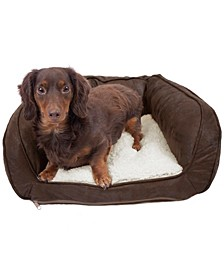 Vegan Leather Curved Orthopedic Memory Foam Sofa Pet Bed - Small