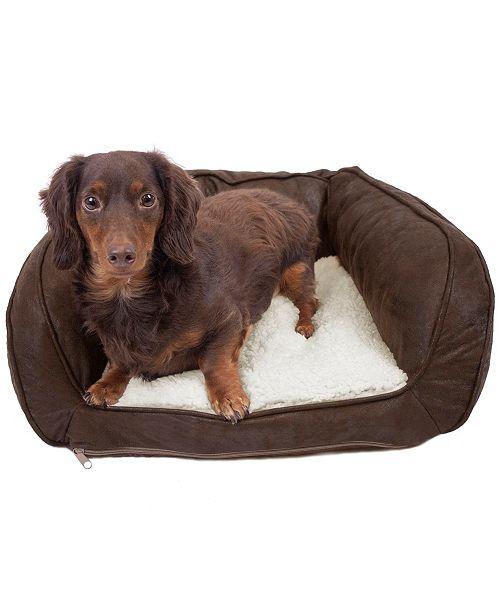 Precious Tails Vegan Leather Curved Orthopedic Memory Foam Sofa Pet Bed - Small