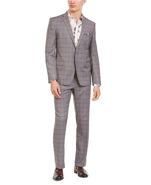 Nick Graham Men's Slim-Fit Performance Stretch Gray Windowpane Suit