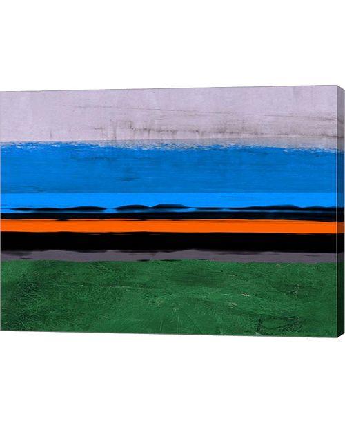 "Metaverse Abstract Stripe Theme Orange and Blue by Naxart Canvas Art, 26.5"" x 20"""