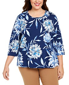 Plus Size Sapphire Skies Dramatic Floral-Print Knit Top