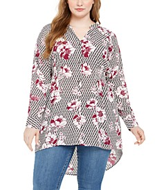 Plus Size Floral Print Button-Down Top