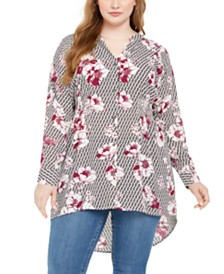 NY Collection Plus Size Floral Print Button-Down Top