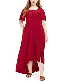 Plus Size High-Low Hem Grommet Dress