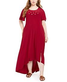 Plus Size High-Low Hem Grommet Dress