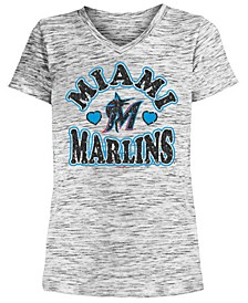 Big Girls Miami Marlins Spacedye T-Shirt