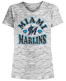 5th & Ocean Big Girls Miami Marlins Spacedye T-Shirt