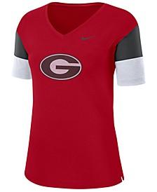 Women's Georgia Bulldogs Breathe V-Neck T-Shirt
