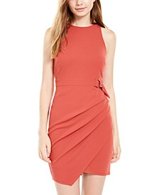 Juniors' Belted Asymmetrical Wrap Dress
