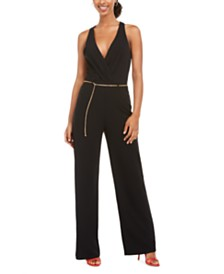 As U Wish Juniors' Jumpsuit With Chain Belt