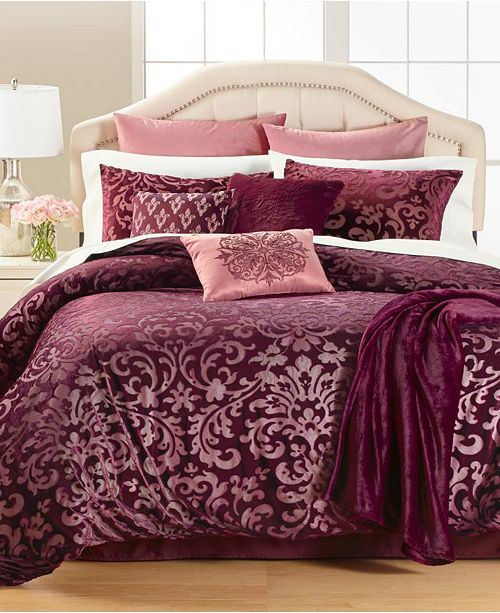 Martha Stewart Collection Velvet Burnout 14-Pc. Comforter Sets, Created for Macy's