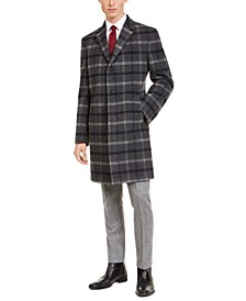 Men's Modern-Fit Performance Stretch Gray/Navy Plaid Overcoat