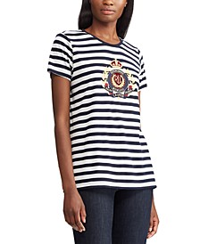 Stripe-Print Crested T-Shirt