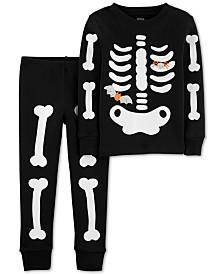 Carter's Baby Boys 2-Pc. Cotton Glow-In-The-Dark Skeleton Pajama Set