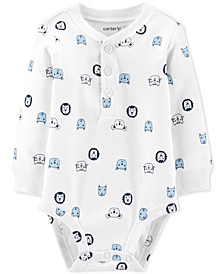 Baby Boys Character-Print Cotton Henley Bodysuit