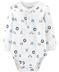 Baby Boys Character-Print Cotton Henley Bodysuit