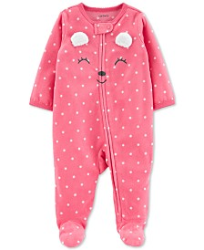 Carter's Baby Girls Bear Zip-Up Fleece Coveralls