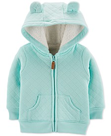 Baby Boys Quilted Fur-Lined Hoodie
