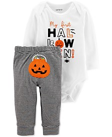 Carter's Baby Boys & Girls 2-Pc. Cotton Halloween Bodysuit & Pumpkin Pants Set