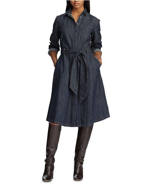 latest design skate shoes size 7 Lauren Ralph Lauren Belted Cotton Denim Shirtdress & Reviews ...