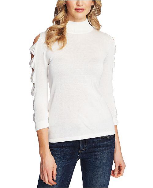 CeCe Turtleneck Cutout-Sleeve Cotton Sweater
