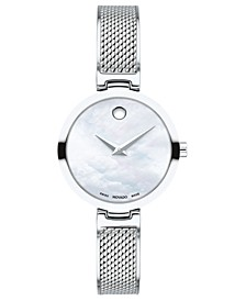 Women's Swiss Amika Stainless Steel Mesh Bangle Bracelet Watch 27mm