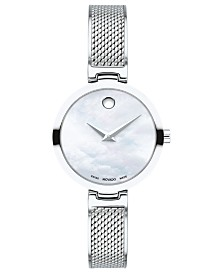 Movado Women's Swiss Amika Stainless Steel Mesh Bangle Bracelet Watch 27mm