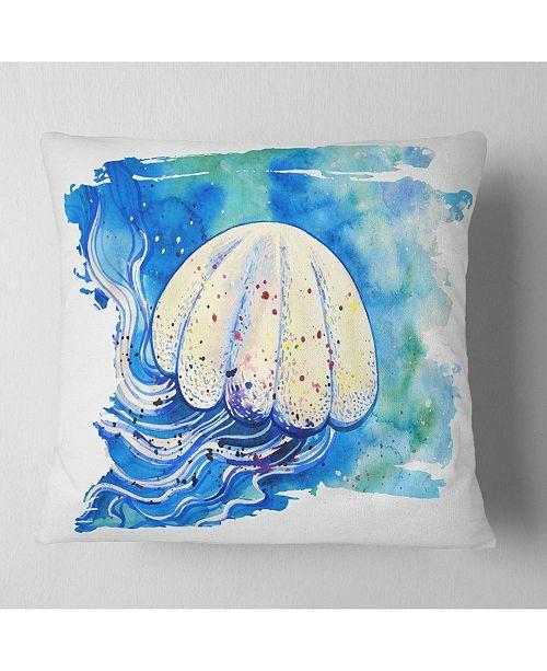 "Design Art Designart Jellyfish Watercolor Painting Abstract Throw Pillow - 18"" X 18"""