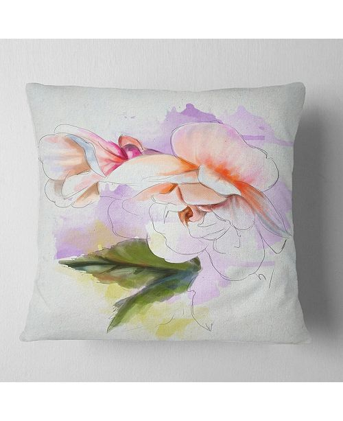 "Design Art Designart White Begonia Flower Watercolor Floral Throw Pillow - 18"" X 18"""