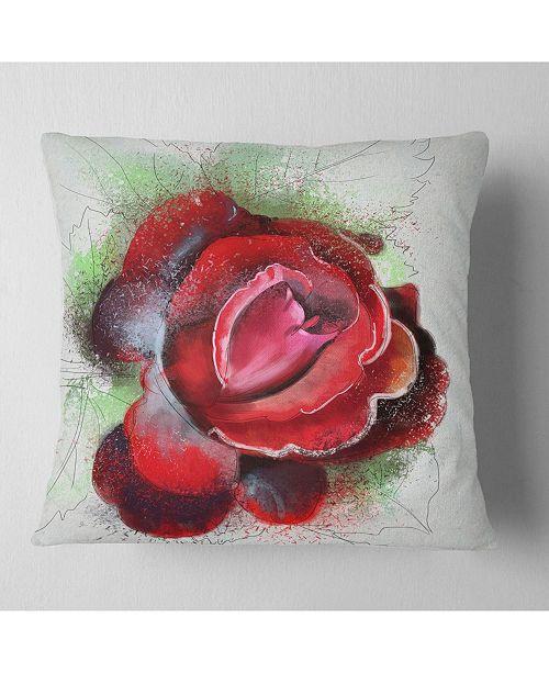 "Design Art Designart Beautiful Red Rose With Green Shade Floral Throw Pillow - 18"" X 18"""