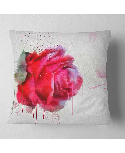 1babfc175cb74 Watercolor Red Rose Illustration Floral Throw Pillow - 18 X 18