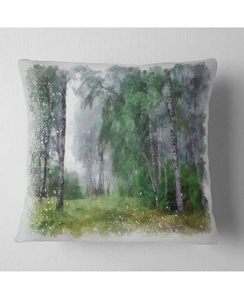 "Design Art Designart Green Forest Watercolor Drawing Landscape Printed Throw Pillow - 16"" X 16"""