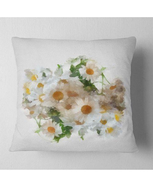 "Design Art Designart Bunch Of White Chamomiles Watercolor Flower Throw Pillow - 16"" X 16"""