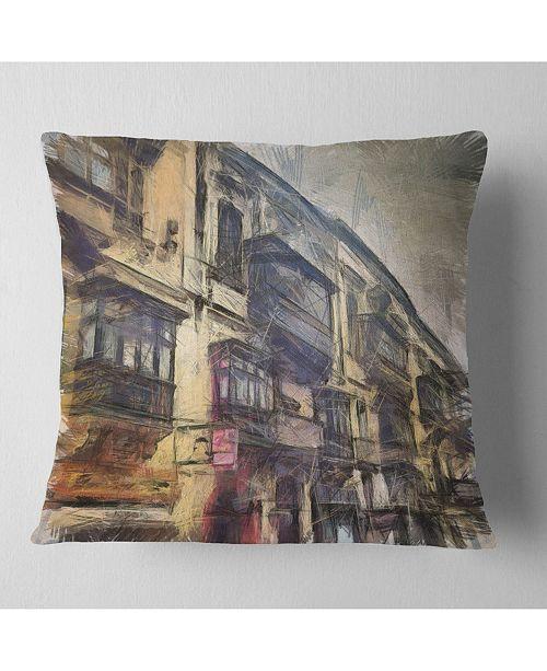 "Design Art Designart Old City Street Watercolor Painting Cityscape Throw Pillow - 18"" X 18"""
