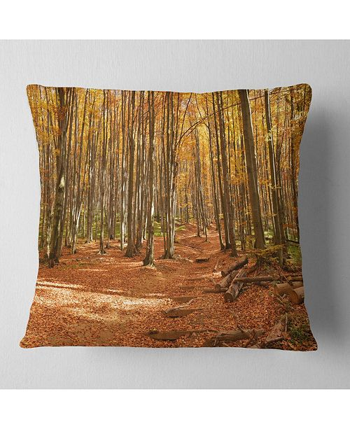 "Design Art Designart Colorful Fall Forest With Fallen Leaves Modern Forest Throw Pillow - 16"" X 16"""