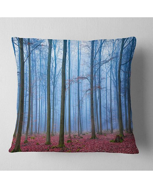 "Design Art Designart Foggy Forest In Blue And Pink Photo Modern Forest Throw Pillow - 16"" X 16"""