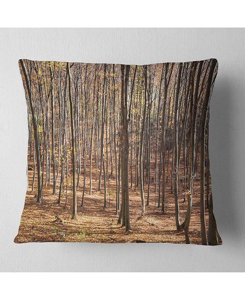 """Design Art Designart Thick Carpathian Deciduous Forest Forest Throw Pillow - 18"""" X 18"""""""